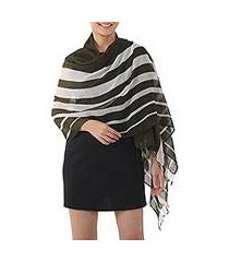 cotton shawl, 'cool stripes in olive' (thailand)