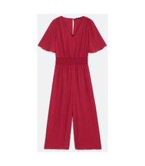 macacão longo manga curta com lastex na cintura | cortelle | vermelho | pp