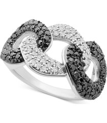 black & white diamond (1 ct. t.w.) triple link statement ring in sterling silver