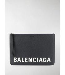 balenciaga logo print pouch bag