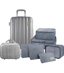 conjunto de mala e frasqueira de viagem trip prata com kit organizador de malas de 6 peças jacki design cinza