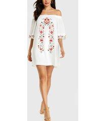 yoins estampado floral blanco al azar fuera del hombro vestido