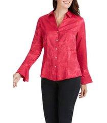 women's foxcroft ellery paisley jacquard shirt, size 8 - pink