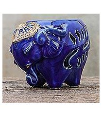 ceramic oil warmer, 'royal scent in blue' (thailand)