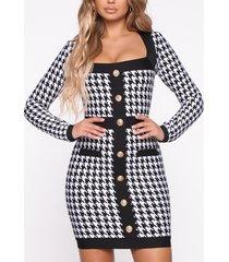 button design houndstooth square neck dress