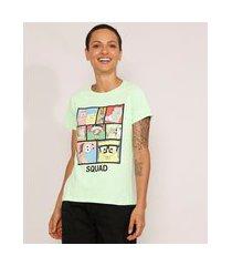 "camiseta feminina manga curta bob esponja squad"" decote redondo verde claro"""