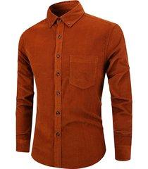 tasca monopetto vintage in puro cotone tinta unita camicia per uomo