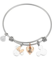 """disney two-tone mickey and minnie mouse """"love and kisses"""" bangle bracelet in fine silver plate"""