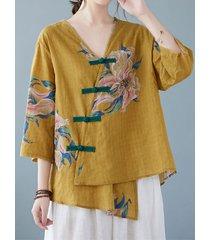 fibbia con stampa floreale scollo a v plus blusa asimmetrica taglia