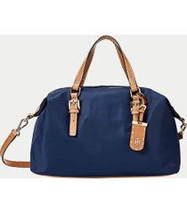 tommy hilfiger women's solid zipper satchel tommy navy -