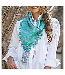 cotton scarf, 'sweet stripes in turquoise' (mexico)