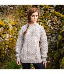 women's springweight new wool crew neck sweater gray l