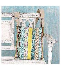 embellished cotton shoulder bag, 'garden path' (india)
