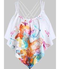 crisscross butterfly print ruffled swim top