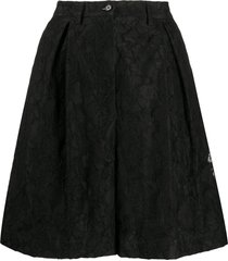 msgm floral-lace pleated bermuda shorts - black
