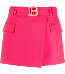 balmain short fuchsia grain de poudre fabric skirt