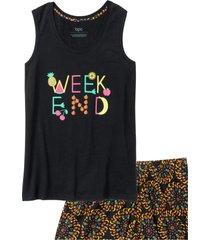 pigiama estivo con gonna pantaloni (nero) - bpc bonprix collection