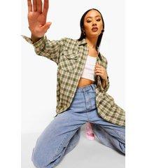 geruite oversized blouse, khaki