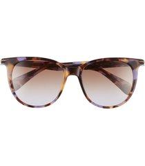 rag & bone 53mm gradient cat eye sunglasses in brown/violet havana/violet at nordstrom