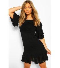 off shoulder cheesecloth mini dress, black