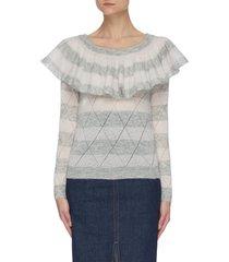 ruffled panel mohair blend sweater