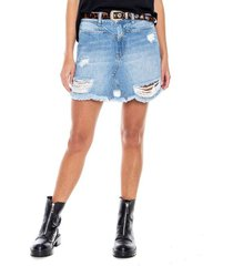 falda corta tono medio con corte delantero y rotos eco recycle color blue