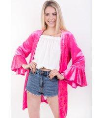 kimono pink velvet  casual fucsia kimonada