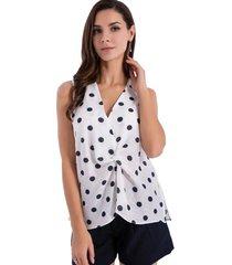 blusa lunares nudo blanco/azul nicopoly