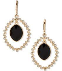 anne klein gold-tone black stone orbital earrings