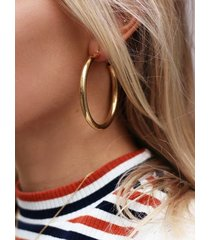 gold color thick round metal earrings