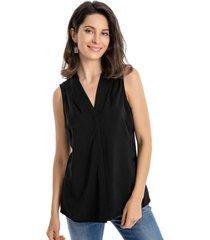 blusa pinzas hombros negro nicopoly