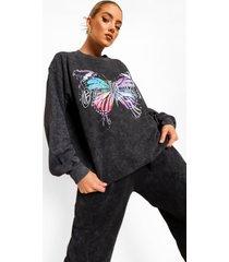 acid wash gebleekte sweater met vlinder, charcoal