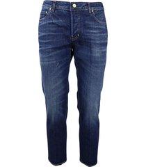 5-pocket striped denim jeans