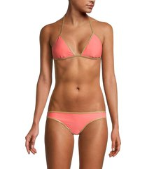 sam edelman women's reversible triangle bikini top - navy silver - size m