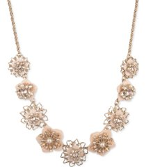 "marchesa gold-tone crystal & imitation pearl flower statement necklace, 16"" + 3"" extender"