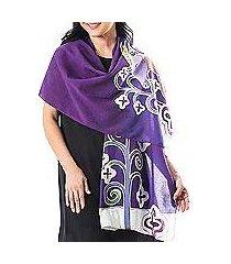 cotton batik shawl, 'lavender goat' (thailand)