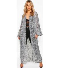 plus slangenprint kimono met franjemouwen, grijs