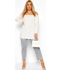 plus basic off shoulder oversized longsleeve top, white