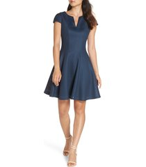 women's julia jordan fit & flare dress, size 12 - blue/green