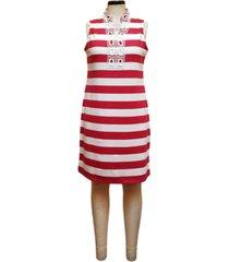 charter club split-neck ottoman stripe dress, created for macy's