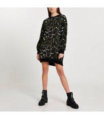 river island womens khaki leopard print jumper dress