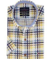 korte mouwen overhemd portofino blauwe ruit