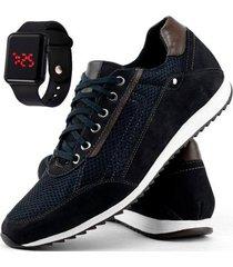 sapatênis casual dhl + relógio digital masculino - masculino