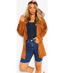 fringe belted suedette jacket, camel