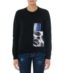 dsquared2 black cotton sweatshirt with stamp