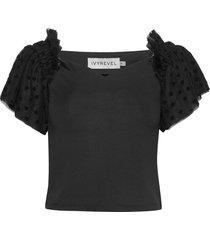 mesh sleeve top blouses short-sleeved svart ivyrevel