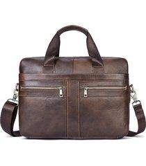 vera pelle borsa professionale a tracolla grande capacità borsa per uomo
