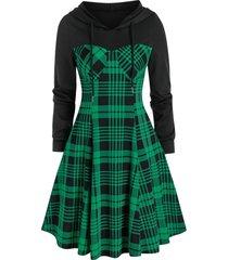 plaid print hooded flare dress