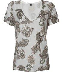 blusa dudalina manga curta decote v estampa paisley feminina (off white estampa paisley, gg)