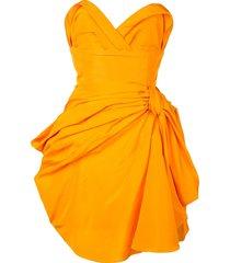 carolina herrera strapless draped dress - orange